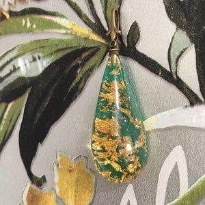 Vintage Gold Leaf & Lucite Pendant